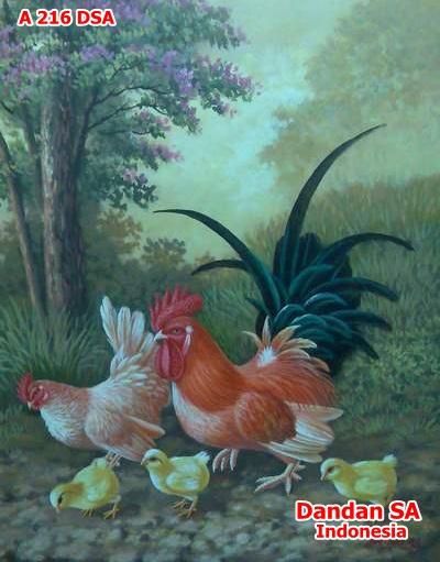 "Lukisan Ayam Lucu ""Dandan SA"""