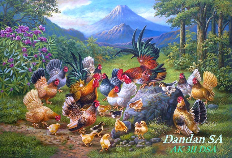 Lukisan Ayam Kate Karya Dandan SA (140 x 95 CM)